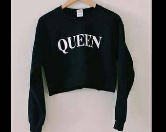 Queen cropped crewneck