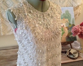 1960s white pearl beaded sequinned organza shell top vintage wedding S