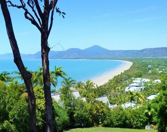 Tropical Port Douglas Photography of the beach and Pacific Ocean from Flagstaff Hill Lookout, Queensland Australia