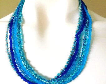 Multi-Strand Multi-Colour Statement Beaded Necklace