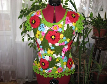 "knitted summer blouse ' flower fields ""involves crochet"