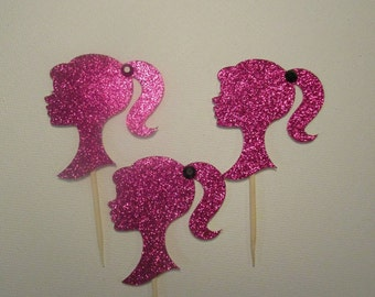 Pink Glitter Barbie Cupcake toppers - Set of 12