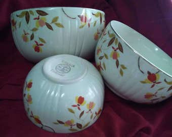 Vintage Hall's Superior Dinnerware Jewel Tea Autumn Leaf Radiance Nesting Mixing Bowls. Mary Dunbar Tested And Approved