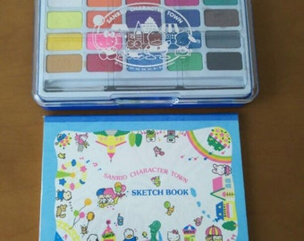 1992 Vintage sketch book and paints colers  from Sanrio hello kitty little twin stars pochacco keroppi