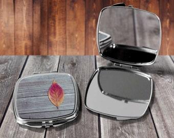 Autumn Leaf Compact mirror, Make up mirror, Pocket mirror, Hand Mirror, Purse Mirror, Birthday gift, Gift for her