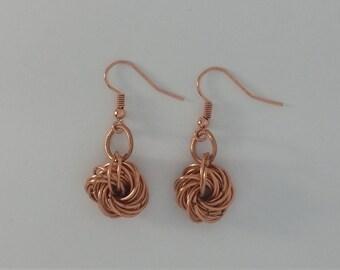 Custom Hand Made Earrings Copper Chain Mail Rosette