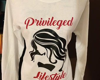 Privileged Lifestyle Long Sleeve Graphic T-Shirt (White)