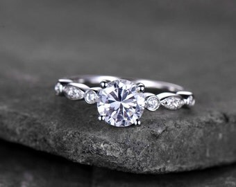 Sterling silver ring/Round cut Cubic Zirconia engagement ring/CZ wedding ring/stackable ring/promise ring/Xmas gift/White gold plated