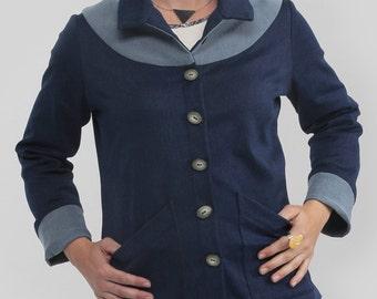 Veste jeans denim extensible Epkuman: BLEU, CAMEL, CHOCOLAT à manche longue ou trois-quart, denim extensible confortable, boutons et poches