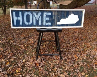 "Wooden distressed ""HOME KENTUCKY"" sign"