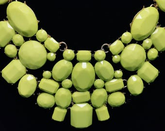 Lime Green Lucite Bib Collar Necklace