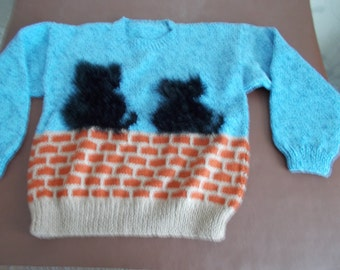 Handmade knitted jumper, two cats sitting on a wall, chest measures 38""