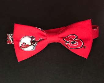 NCSU Wolfpack Bow Tie, NC State Boys Bow Tie (baby up to ages 7-8), Wolfpack Youth Bow Tie (ages 7-8 up to 13-14) , Adult NC State Bow Tie