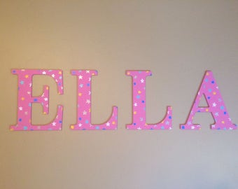 Custom, hand painted star wood name sign; star nursery letters