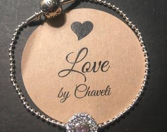 Pandora bracelet with pink cz Radiant Splendor heart charm