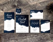 Starry Night Printable Navy Blue Watercolor Texture Wedding Stationery Suite | Romantic Watercolor Night Sky Invitation Set