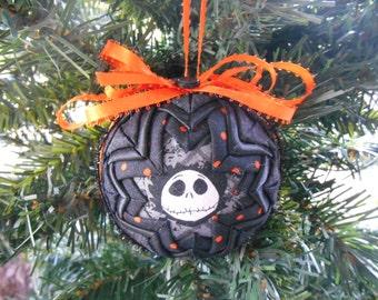 Jack Skellington Ornament Black and Orange Ornament Nightmare Before Christmas Ornament Handmade Quilted Ornament Quilted Christmas Ornament