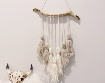 Medium Yarn wall hanging | yarn macrame | wall hanging with branch | tapestry