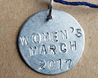 Women's March 2017 Commemorative Stamped Metal Charm Pendant