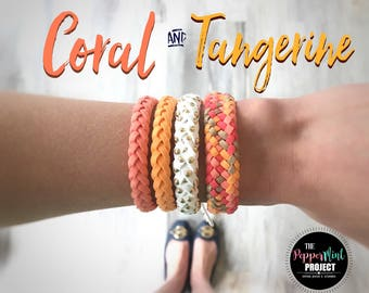 Large Essential Oil Diffuser Bracelet ~ Coral & Tangerine ~ Multicolor ~ Faux Suede Leather Braided Diffusing Bracelet ~ FREE SHIPPING 25+