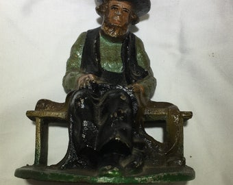VIntage Cast Iron Amish Man in Prayer