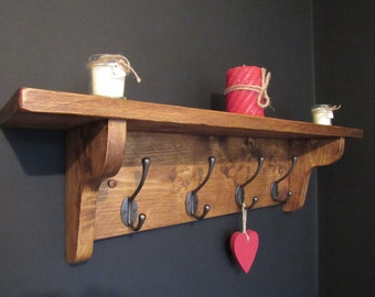 "Rustic wood farmhouse shelf coat rack, 1"" thick rustic sawn pine, wall coat hook,  rustic home decor"