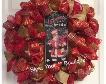 Merry Christmas and Happy New Year Deco Mesh wreath