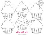 Valentine Cupcakes, Love, Valentine's Day - Cute Digital Stamps, Line Art  - Commercial Use, Instant Download