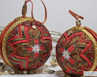 "Hand-Crafted Quilted Ornament Set of 2  (4"", 5"") - Royal Cross"