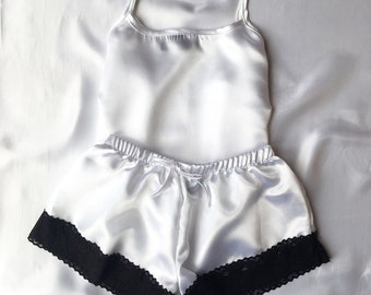 White with Black Lace Satin Pyjamas