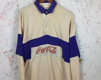SALE 25% Vintage 80s Coca Cola Rugby Shirt Size L