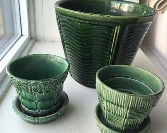 3 Vintage McCoy Green Planters