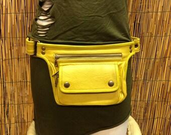 Fanny Pack hip shoulder Hip Bag Handbag travel bag of leather skin / yellow / strap / hand made / Unisex