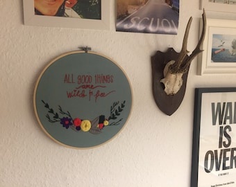 Image of embroidery hoop embroidery wild & free