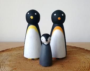 Penguin peg doll family, peg dolls, peg doll animals, wooden peg doll family, wooden toy, toddler gift, children's toy, wooden animals