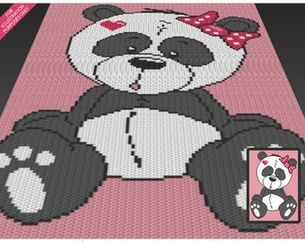Cute Panda  crochet blanket pattern; c2c, cross stitch; knitting; graph; pdf download; no written counts or row-by-row instructions