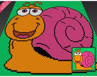Spring Snail crochet blanket pattern; c2c, cross stitch; knitting; graph; pdf download; no written counts or row-by-row instructions