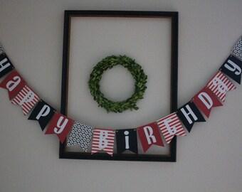 Pirate Themed Happy Birthday Banner / Red, Black, White, Stripes, Skull & Crossbones / Pirate Party / Party Decor / Boys Birthday