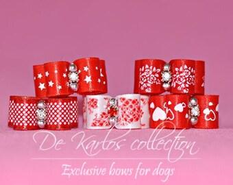 Set bows for dog Red&White 5