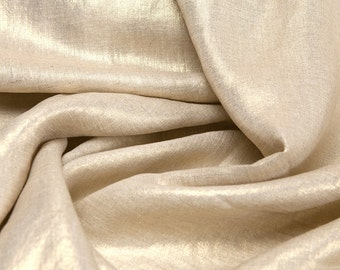 Linen Fabric By the yard Metallic Glimmer Gold on Flax