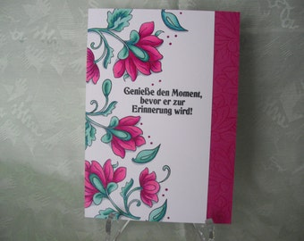 Greeting card, greeting card, flowers in pink