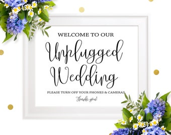 Unplugged wedding sign-Welcome to our unplugged wedding-DIY printable rustic chic unplugged sign-Unplugged ceremony sign-Wedding signs
