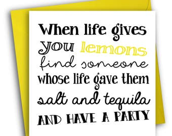 Thinking Of You Card/ Cute Card/When Life Gives You Lemons