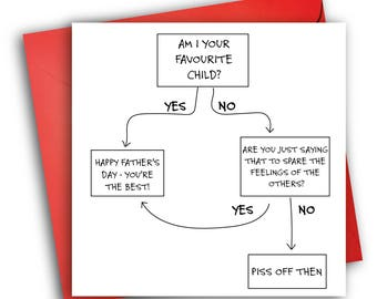 Funny Father's Day Card/ Flowchart/ Father's Day