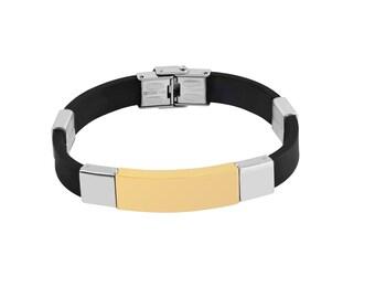 Identity bracelet ID stainless steel bracelet wristband rubber diamond engraving 22 cm new