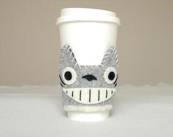 Totoro Felt Coffee Sleeve, Handmade, Totoro Felt Art, Coffee Cozy, Funny Totoro, Gift Idea
