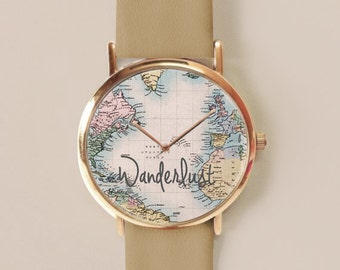World map Watch, Map Watch, Map Jewelry, Wanderlust Watch Leather Watch, Women Watches, Gift for her, World Map Print, Watches, Gift