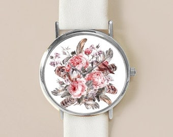 Women Watch, Minimal Jewelry, Vintage Style Leather Watch, Women Watches, Succulents Men's watch, Floral Print, Watches, Gift