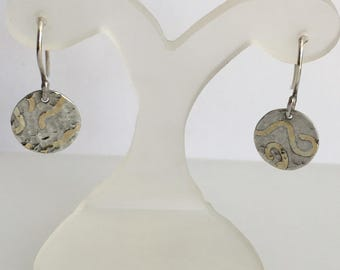 Sterling Silver and gold texture disc earrings