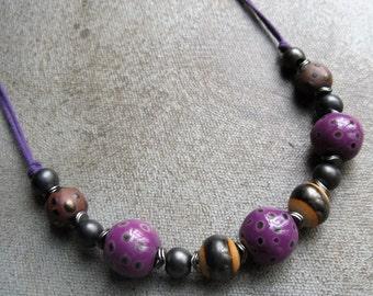 Boho Ethnic Purple Kazuri Beaded Necklace